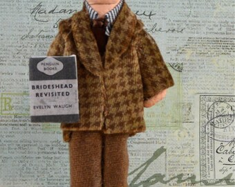 Evelyn Waugh Author Doll Miniature Art Writer Classic Literature
