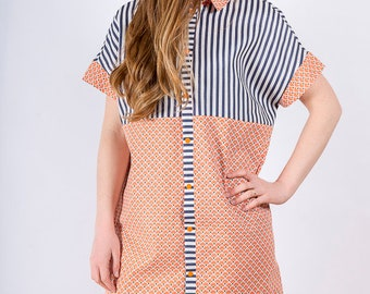 Ginger/blue white and orange dress
