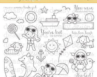 "Digital Stamp Art "" Summer Girl """