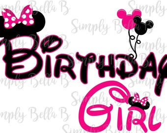 Birthday Girl Minnie Mouse INSTANT DOWNLOAD Printable Digital Iron-On Transfer Design - DIY
