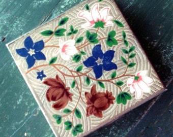 SALE Vintage Volupte Silver Plate Floral Compact