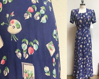 1940s Cold Rayon Novelty Artist Palette and Floral Print Dress