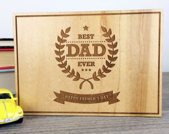 Best Dad Ever Father's Day Wooden Postcard
