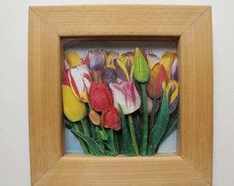 Bouquet of tulips - 3D collage