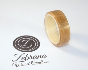 Wooden Ring Made with Cherry Wood and Sycamore, Two Tone Bent Wood Ring Hand Made In Any UK or US Size For Men and Women