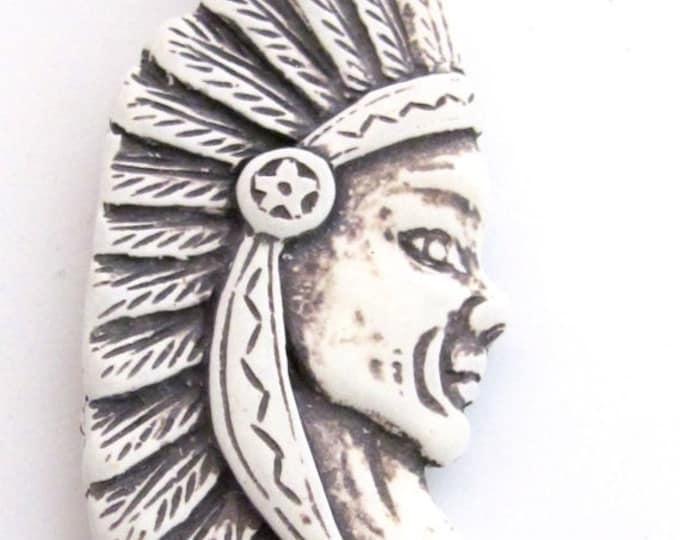SALE 1 Pendant - Large Native Indian chief resin pendant - PB085