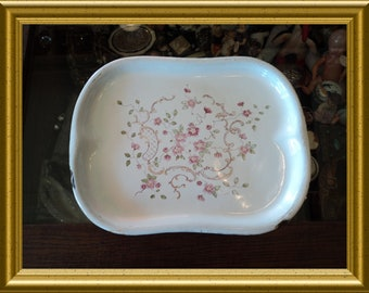 Vintage white enamel serving plate with pink flowers