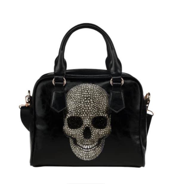 Beaded Skull Shoulder Handbag
