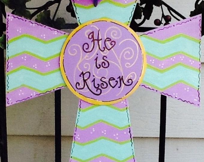 Easter cross, religious cross, easter door hanger, cross door hanger