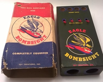 Vintage 1948 EAGLE BOMBSIGHT by Toy Creations Inc from WW2 in Original Box Made in the USA Antique