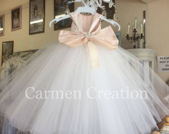 Mini Bride Flower Girl Dress Blush/Ivory NB