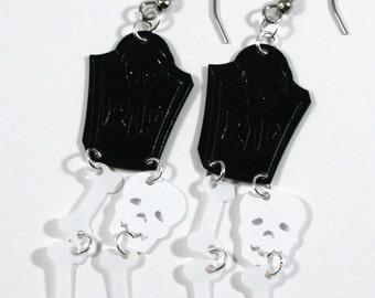 Halloween Earrings R.I.P Tombstone Earrings Skull & Bones Dangling Plastic Sequins