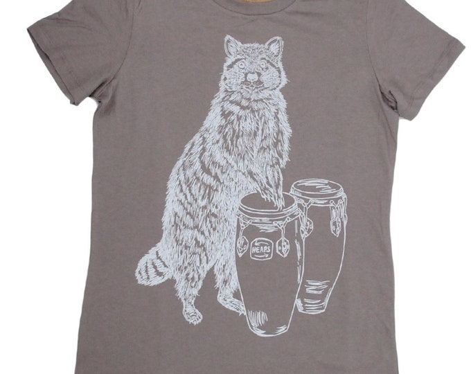 Womens T Shirt - Conga Playing Raccoon Tee Shirt - Screen Print - Short Sleeve - Animal Tees - Geek T-shirt - Funny Tees Ladies Tee S M L XL