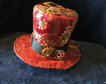 Sale: Red & Green Brocade Mini Top Hat