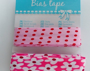 2 bias tucked band pink polka dots and flower 2 X 2.5 meters width 20 mm
