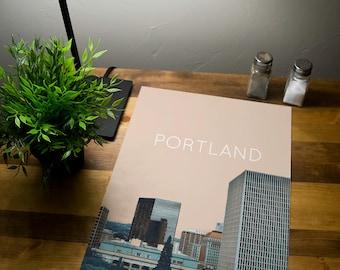 Portland Skyline Poster 11x17 18x24 24x36