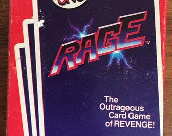 Rage Card Game, 1983, From the Makers of UNO, Vintage 1980s Card Game, Game of REVENGE