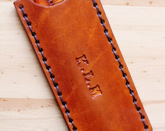 Personalized Leather Comb Case, Name Comb Case, Dad Gift, Initial Monogrammed Boyfriend Gift, 3rd Leather Anniversary Gift, Husband Gift