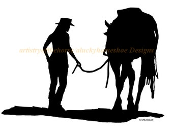 Horse-Adult and Horse wall decal, Horse sticker-Horse decal, 27 inches x19 inches. 769-HS