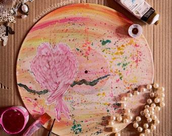 "Wedding gift LOVEBIRDS hand-painted 12"" vinyl record shabby chic decor gifts for women bird painting vinyl record art bird art engagement"