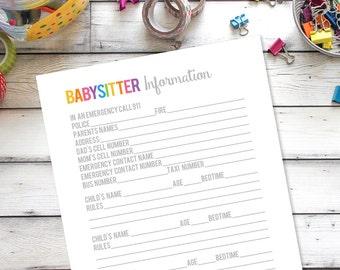 Babysitter printable for 3 kids, babysitter notes, babysitter information, Household Binder Printable, Family Binder, Home organization