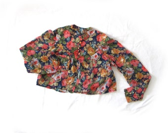 vintage cardigan bolero 60s shrug blouse floral print cropped 1960s womens clothing size xs s extra small