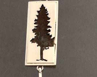 Pine Tree cut out rectangle sterling pendant