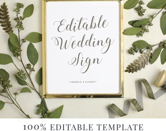 Wedding Sign Template, Editable Sign, Favor Sign, Guestbook Sign, Cards and Gifts, Grecian, Greek Inspired, Greece, Instant DOWNLOAD