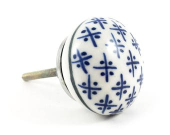 Round Blue and White Hamptons Ceramic Knob , Cermaic Cabinet Knob, Decorative Round Ceramic Knob,  Cabinet Hardware, Modern Furniture Knob