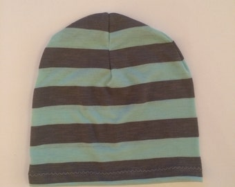 Slouchy Toque | Slouchy Beanie | Baby and Toddler | Grey and Aqua Stripe