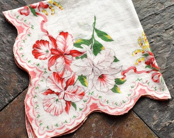 Vintage Pink Floral Hankie, Floral Handkerchief with Scalloped Edges, Pink Orchids, Ribbons, Lily of the Valley.  Gift For Woman