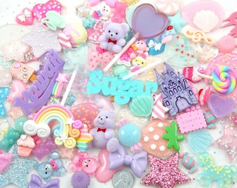Kawaii Resin Cabochons, 50 pieces - Pastel Magical Sparkle Pink Fairy Kei Decoden Set - Resin Flatback Cabochon and Pendant Mix