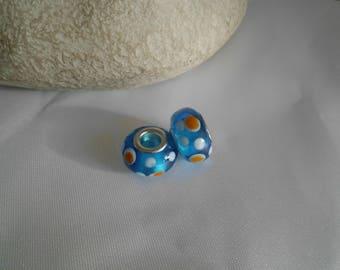 14x9mm blue glass lampwork bead