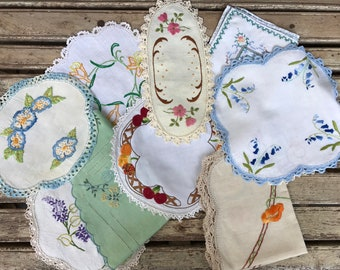 10 Mismatched Embroidered Floral Vintage Doilies