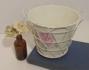Painted rose flower pot