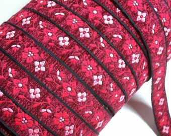 Red Ribbon, Vintage Red Flower Chenille Sewing Trim 1 inch wide x 3 yards, SECOND QUALITY FLAWED