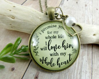 Mother-In-Law Necklace Or Keychain I Promise You I Will Love Him Rustic Pendant Gift From Bride Wedding Jewelry Heart Charm Keepsake Card