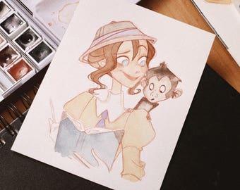 Jane watercolor drawing #doodletimewithkaroline