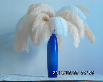 100pcs white&Elegant Champagne Pink Ostrich Feather Plume for Wedding centerpieces