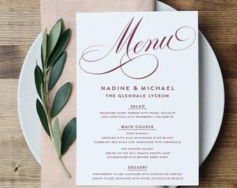 Printable Menu Card   The Nadine Collection in Marsala & White or Custom   Wedding   PDF or Printed   Wedding Reception Decor   Marsala