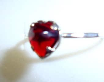 Red Heart ring -in reclaimed/recycled sterling silver  - custom size