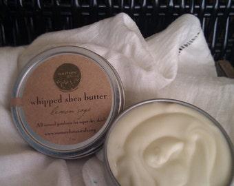 Lemon Sage Whipped Shea Butter - 2oz - Vegan Body Butter, Handmade with Essential Oils, Fair Trade