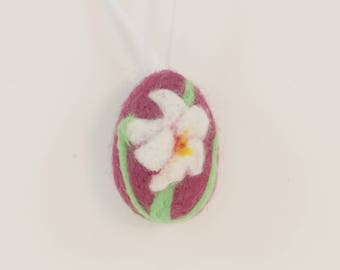 Needle Felted Miniature Easter Egg - Mini Egg Ornament - Lily on Burgundy Egg - Holiday Decoration - Easter Gift