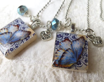 Navy Blue Butterfly Scrabble Tile Pendant Necklace with Crystal and Charm on Micro Ball Chain-Choice of heart charms