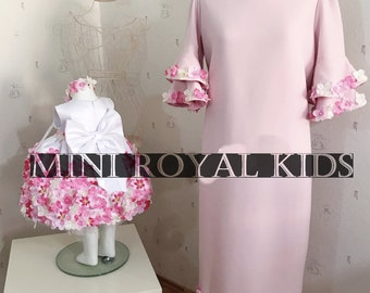 MOMY & I COLLECTION : Mother and daughter custom flower pink dress with fringe handmade