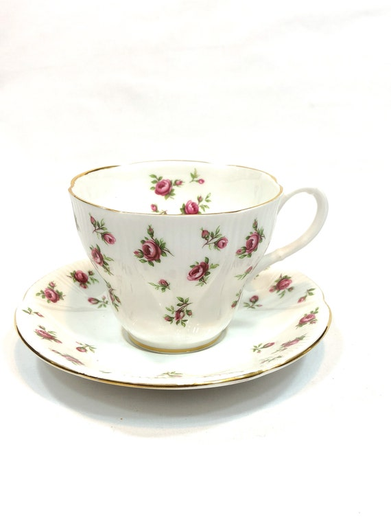 Royal Albert Rosalie Tea Cup Saucer, White with Pink Roses, Fluted Bone China, 1950s Vintage English Teacup Shabby Chic