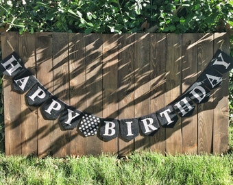 HAPPY BIRTHDAY Bunting Birthday Décor Birthday Banner Birthday Sign Birthday Garland Burlap Birthday Sign Custom Happy Birthday Banner