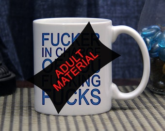 Novelty Coffee Mug - 11 ounce Ceramic Coffee Mug - F*cker In Charge - Office Humor - Work Place Humor