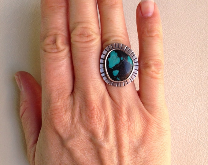 Turquoise ring silversmith handmade silver size 5 3/4