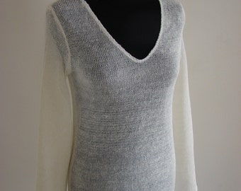 100% Linen knitted blouse with long sleeves, handmade, summer, custom order, High-quality, Natural, many colors unique woman fashion